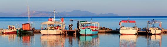 Boats in small harbor. Near Vlacherna monastery, Kanoni, Corfu, Greece Royalty Free Stock Photos