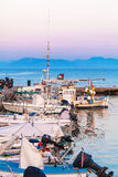 Boats in small harbor, Corfu, Greece Royalty Free Stock Images