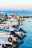 Boats in small harbor, Corfu, Greece Stock Photo