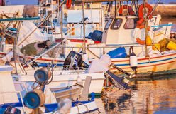 Boats in small harbor, Corfu, Greece Stock Images