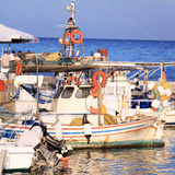 Boats in Small Harbor near Vlacherna Monastery, Corfu, Greece Stock Photo