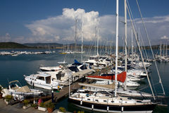 Boats In The Small Port Of Telamon, Tuscany Stock Photo