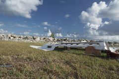 Boats smashed apart by Hurricane Irma. Damaged boats and debris washed up along Fleming Key Cut and Trumbo Point, Key West Florida after Hurricane Irma Stock Photos