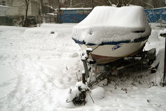 Boats on snow Royalty Free Stock Photos