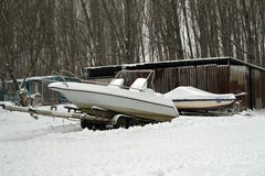 Boats on snow Royalty Free Stock Images