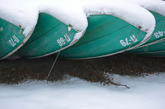 Boats in a snow close up Royalty Free Stock Photos