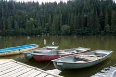 Boats. Some boats on Red lake in Transilvanya, Romania royalty free stock image