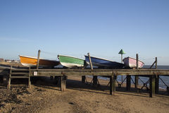 Boats on Southend Beach, Essex, England Stock Image