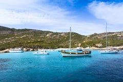 Boats at Spargi Island, Archipelago of Maddalena, Sardinia Royalty Free Stock Photo