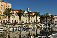 Boats in Split Waterfront Stock Photography
