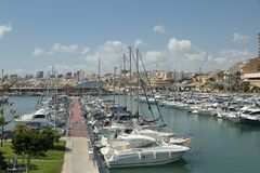 Boats in sports port of El campello, alicante, spain. Horizontal view of some boats inside sports port in the coastal municipality of El campello in the province stock photography