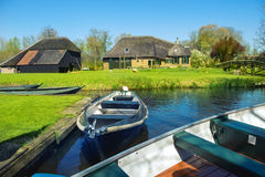 Boats in spring in Giethoorn Royalty Free Stock Photo