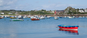 Boats in St. Mary's harbour, Isles of Scilly. Royalty Free Stock Images