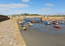 Boats in St Michaels Mount Harbour Cornwall England Stock Photography