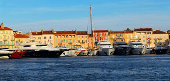 Boats at St. Tropez. Luxury boats anchored in St. Tropez in French Riviera stock image
