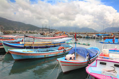 Boats stand at the pier in Alanya Stock Images