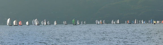 Boats after the start of Trofeo Gorla 2012 Royalty Free Stock Image