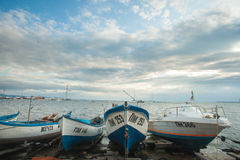Boats before the storm in Bulgaria Stock Images