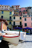 Boats on the streets of Manarola Stock Images