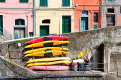 Boats on the streets of Manarola Royalty Free Stock Photography
