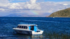 Boats of sun island in Copacabana, Bolivia stock images