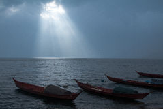 Boats and sunlight. In fuxian-lake of yunnan,china Stock Image