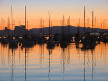 Boats in sunrise. Sunrise and marina Stock Image