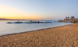 Boats at sunrise in Gult of Aqaba Royalty Free Stock Photography