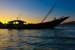 Boats during sunset Royalty Free Stock Photo