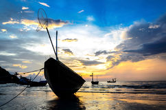Boats with sunset Royalty Free Stock Photos