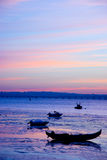 Boats in sunset. A sunset in Alcochete, Portugal with a typical portuguese boats on scene Stock Photo