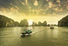 Free Boats, Sunset At Ha Long Bay Royalty Free Stock Photography - 131224737