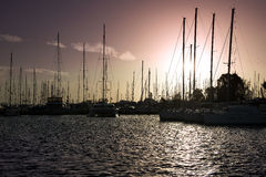 Boats on sunset. Boats on sunset in athens greece Stock Photos