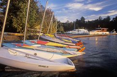 Boats at sunset in the Basin Harbor in Vermont Stock Photo