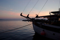 Boats In Sunset,Croatia. Parking Ships In Harbour During Sunset Stock Photography