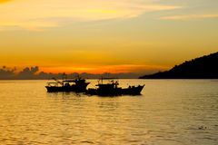 Boats at sunset Royalty Free Stock Photo