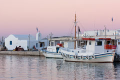 Boats at Sunset, Greece Stock Photo