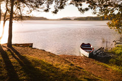 Boats at sunset in the Lagunas de Montebello National Park Chiap Royalty Free Stock Image