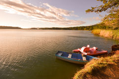 Boats at sunset in the Lagunas de Montebello National Park Chiap Stock Photography