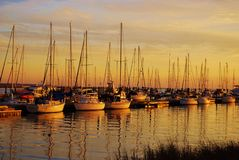 Boats at Sunset Stock Photography