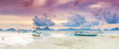 Boats at sunset. Panorama Stock Image