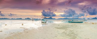 Boats at sunset. Panorama Royalty Free Stock Photo