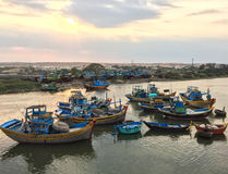 Boats at sunset in Phan Rang, Vietnam Stock Images