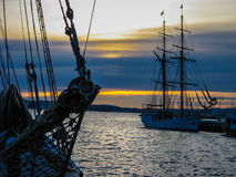 Boats at sunset on the port of Oslo, Norway Royalty Free Stock Images