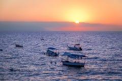 Boats at sunset - Puerto Vallarta, Jalisco, Mexico. Boats at sunset in Puerto Vallarta, Jalisco, Mexico Royalty Free Stock Photography