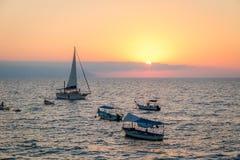 Boats at sunset - Puerto Vallarta, Jalisco, Mexico. Boats at sunset in Puerto Vallarta, Jalisco, Mexico Stock Photos