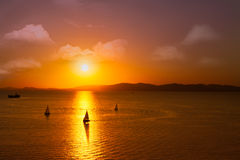 Boats at sunset Royalty Free Stock Images