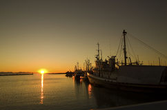 Boats at Sunset. Steveston Harbour Richmond British Columbia Royalty Free Stock Photo