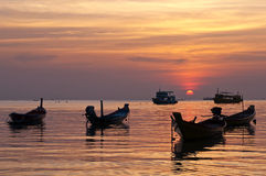 Boats and the sunset, Thailand Royalty Free Stock Photos