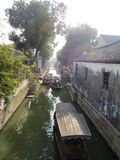 Yu garden loft, cloisters and water. Boats in Suzhou Water Town, boating royalty free stock photos